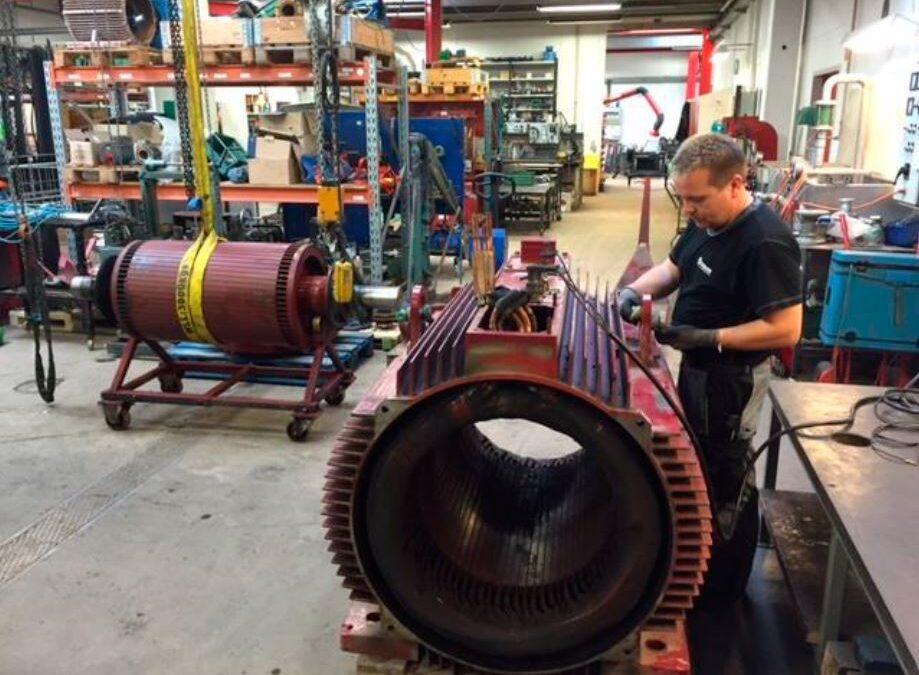 500 kW motor til reparation hos PRONORs afdeling i Ringe