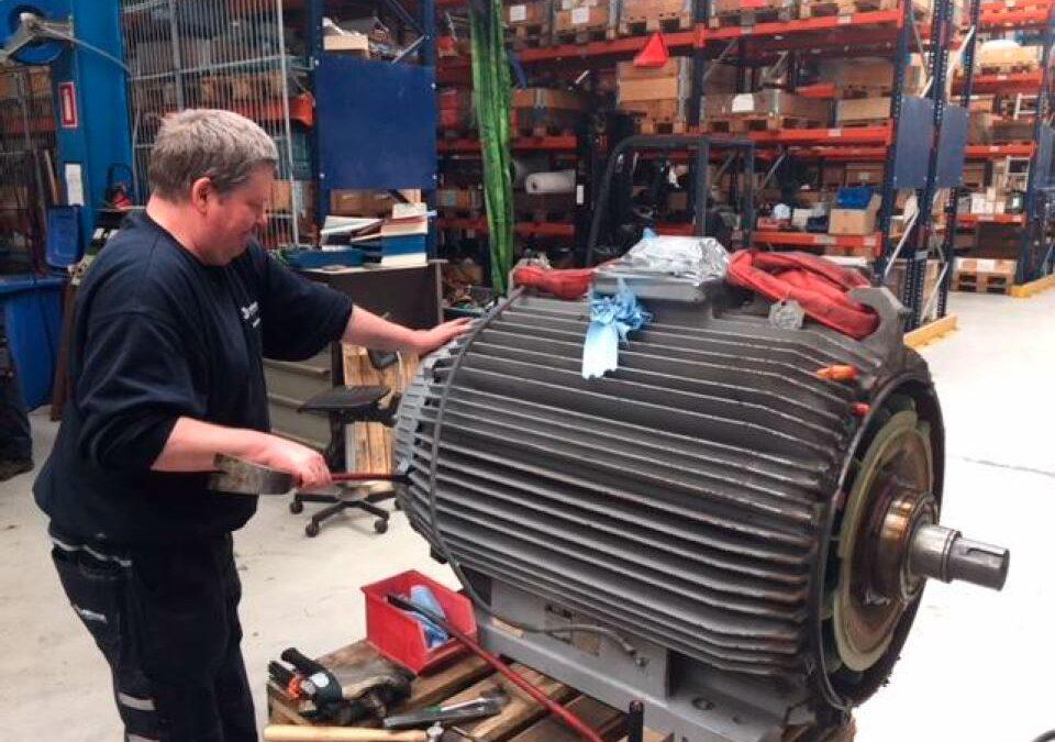 300 kW motor til reparation hos PRONORs afdeling i Århus